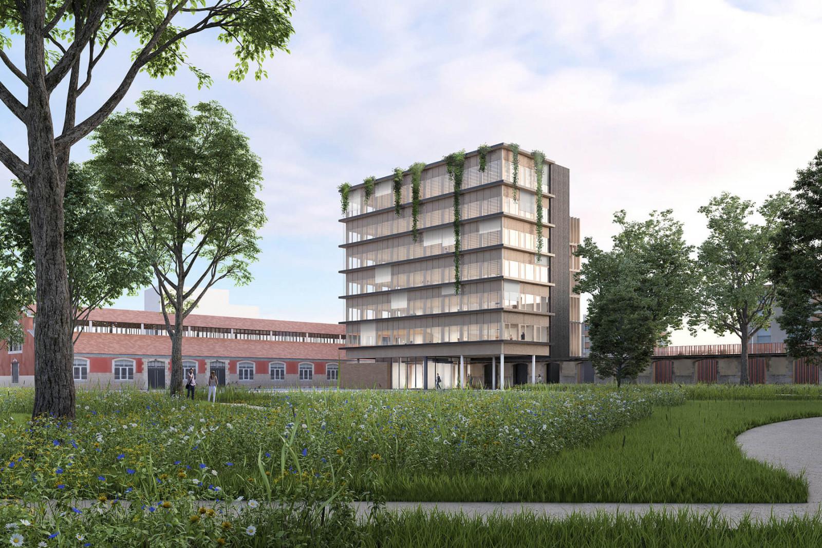 graam-ecopolis-01-bureaux-dijon-exterieur-facade-nord-vegetation-parc-caserne